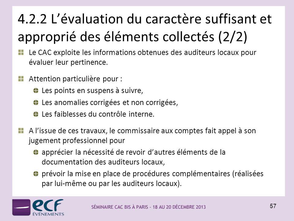 4.2.2 L'évaluation du caractère suffisant et approprié des éléments collectés (2/2)