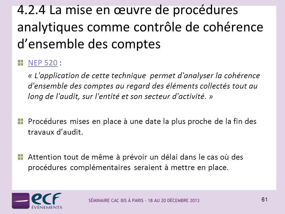 4.2.4 La mise en œuvre de procédures analytiques comme contrôle de cohérence d'ensemble des comptes