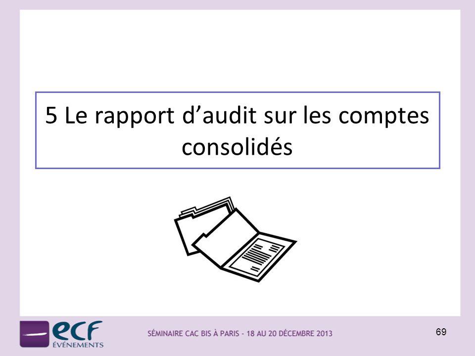 5 Le rapport d'audit sur les comptes consolidés