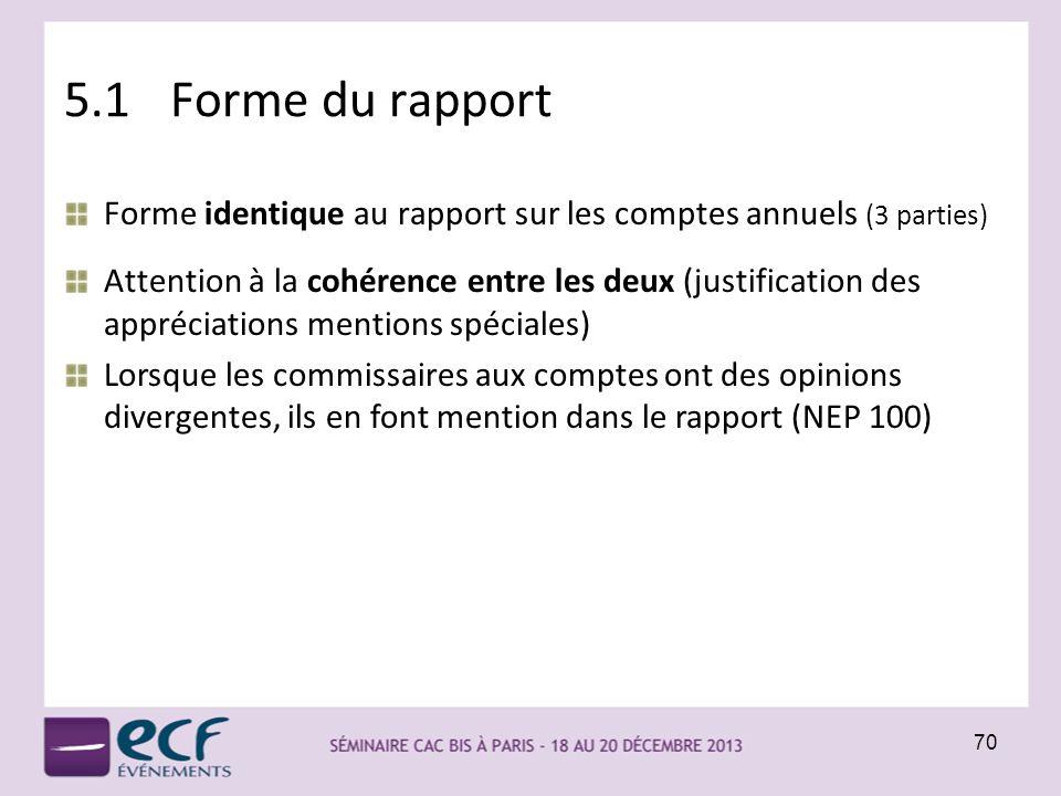 5.1 Forme du rapport Forme identique au rapport sur les comptes annuels (3 parties)