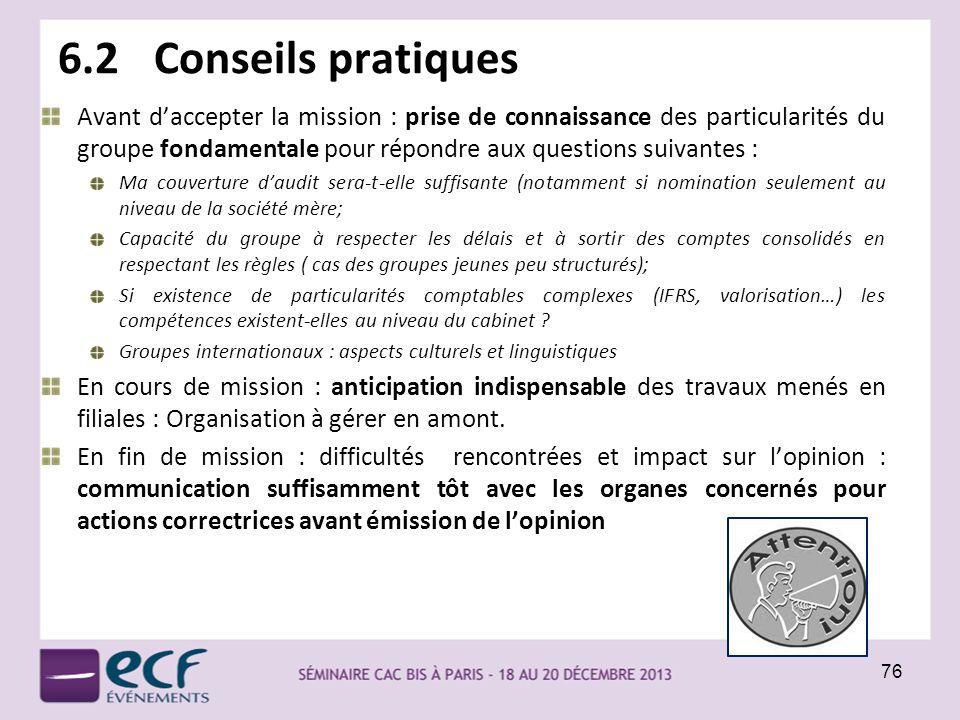 6.2 Conseils pratiques