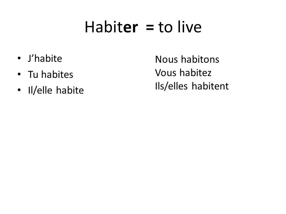 Habiter = to live J'habite Nous habitons Tu habites Vous habitez