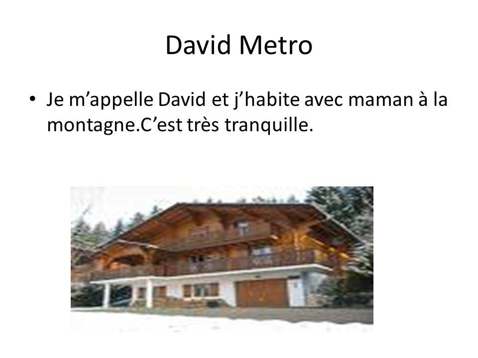 David Metro Je m'appelle David et j'habite avec maman à la montagne.C'est très tranquille.