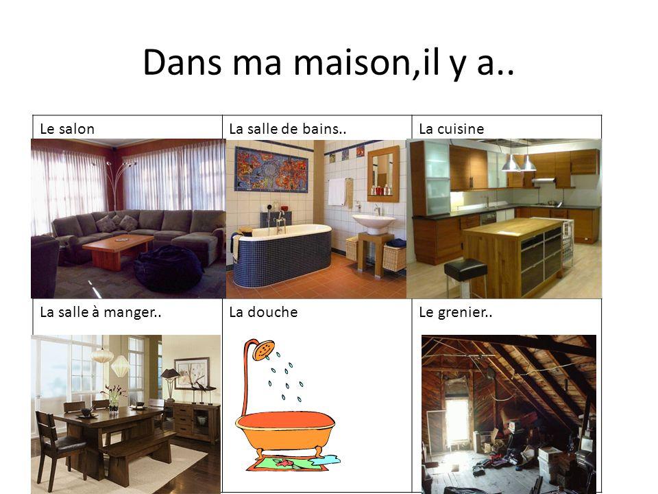Dans ma maison,il y a.. Le salon La salle de bains.. La cuisine