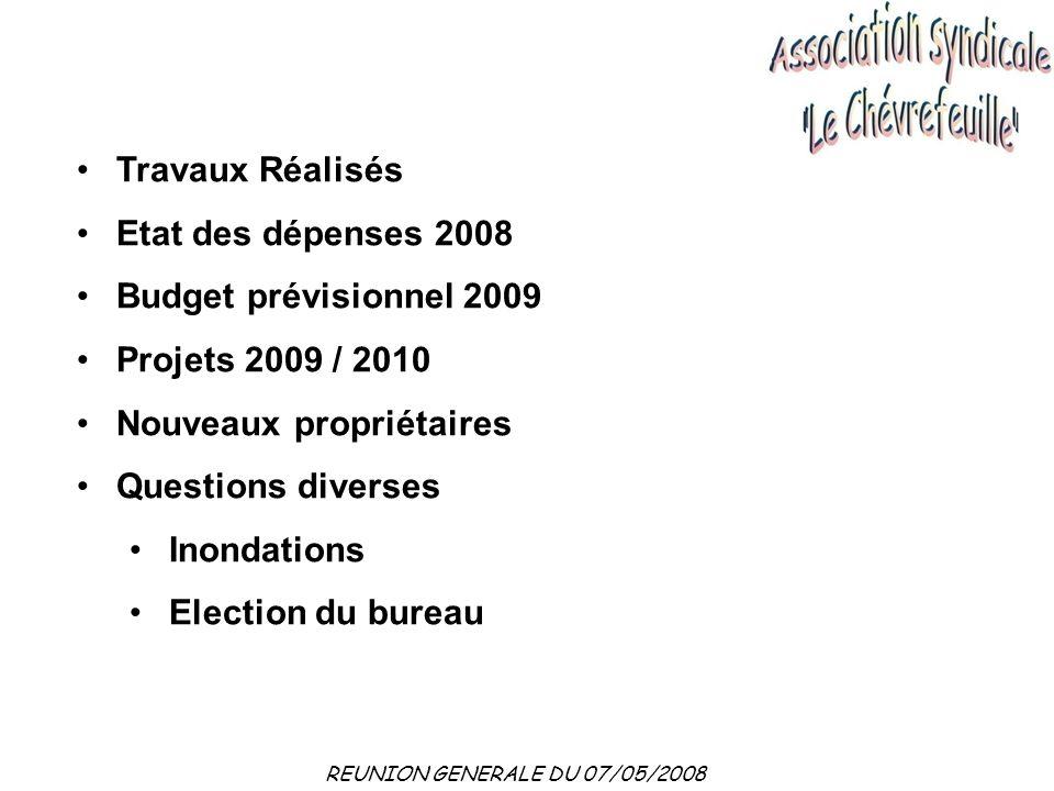 Travaux Réalisés Etat des dépenses 2008. Budget prévisionnel 2009. Projets 2009 / 2010. Nouveaux propriétaires.