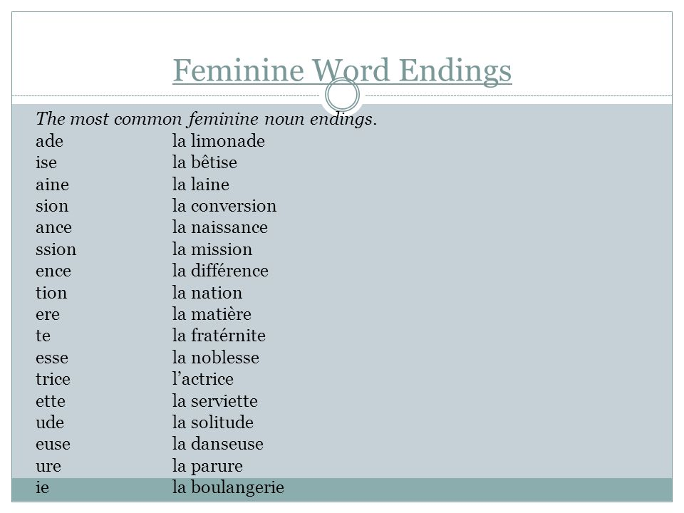Feminine Word Endings