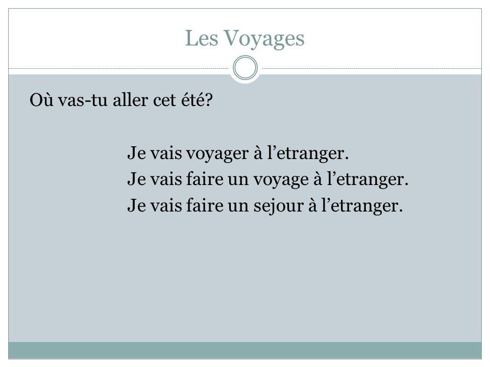 Les Voyages Où vas-tu aller cet été. Je vais voyager à l'etranger.