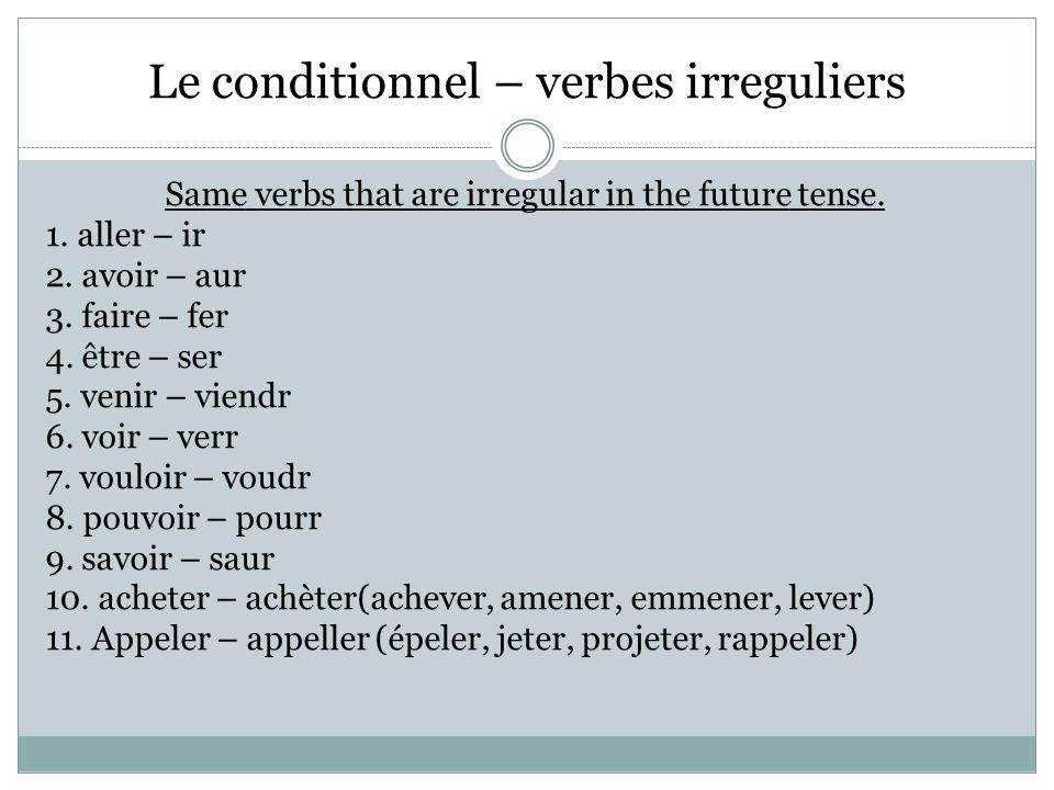 Le conditionnel – verbes irreguliers