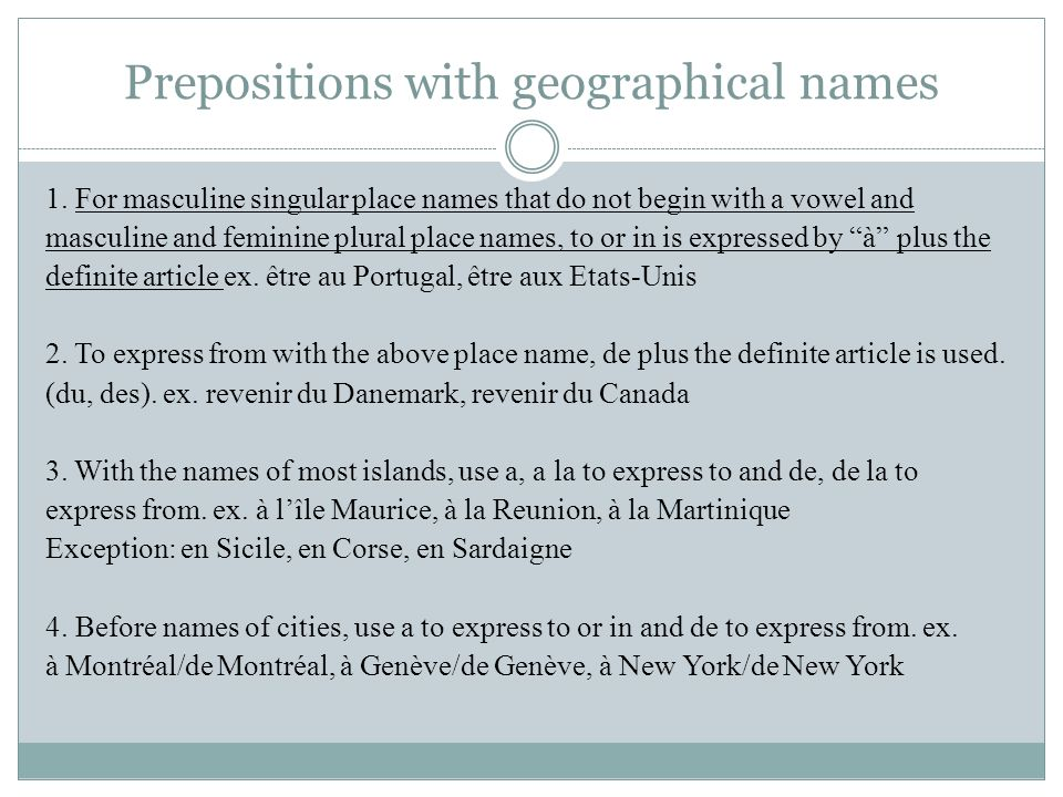 Prepositions with geographical names