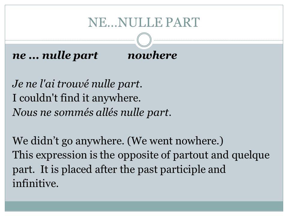 NE…NULLE PART
