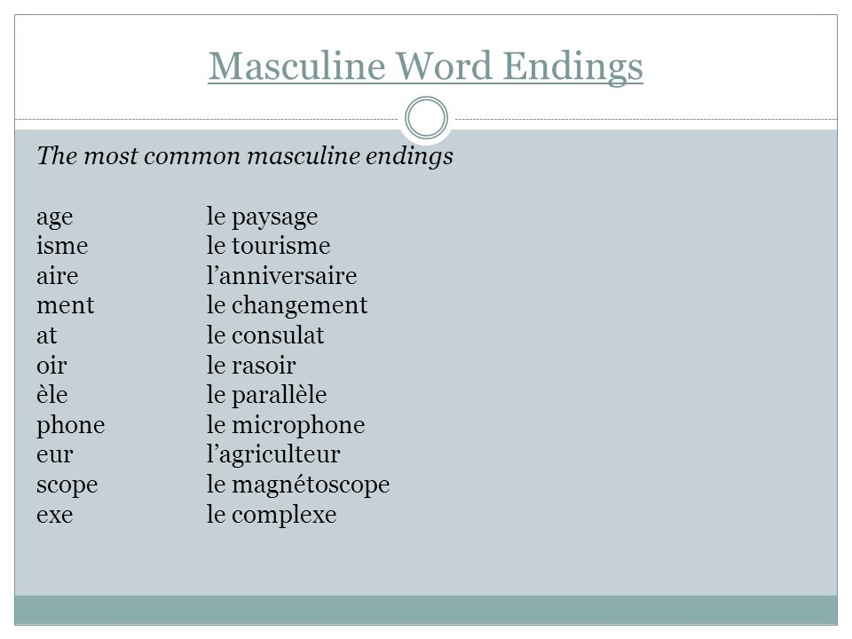 Masculine Word Endings