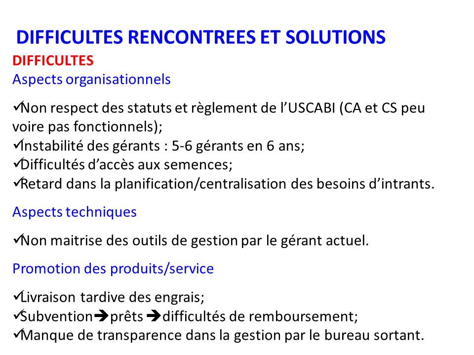 DIFFICULTES RENCONTREES ET SOLUTIONS