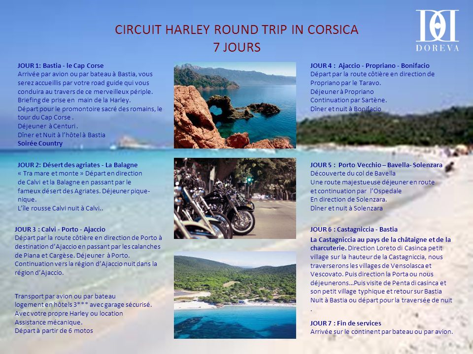 CIRCUIT HARLEY ROUND TRIP IN CORSICA 7 JOURS