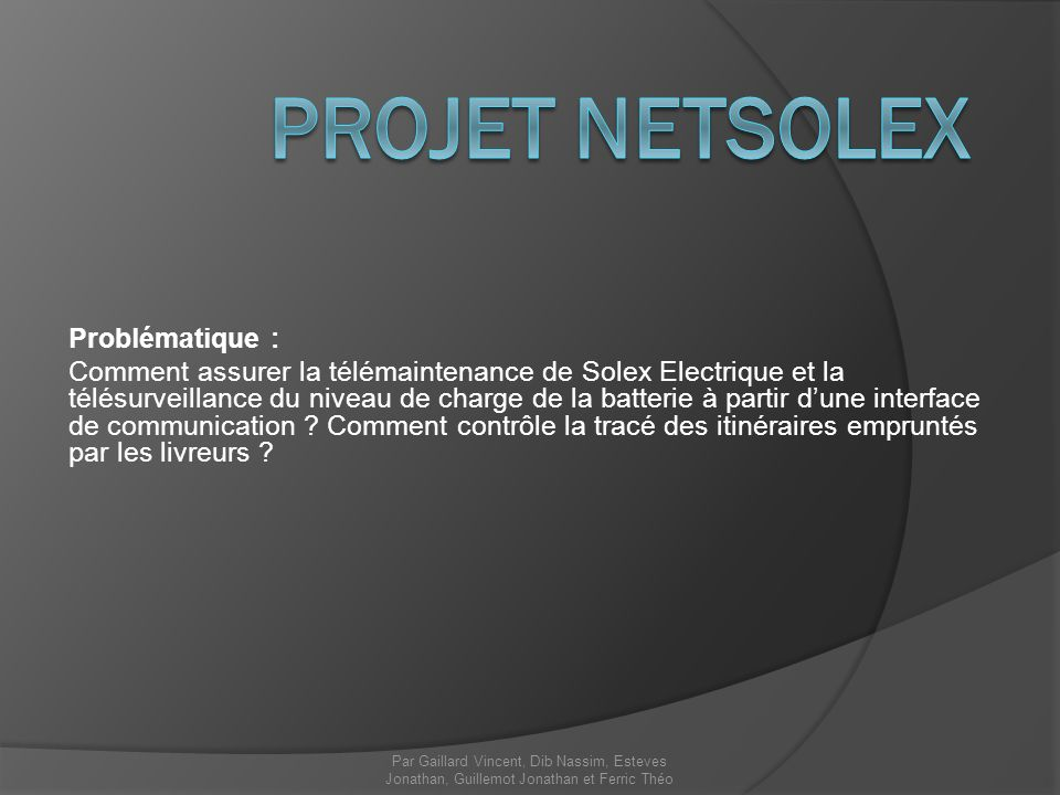 Projet NetSolex Problématique :