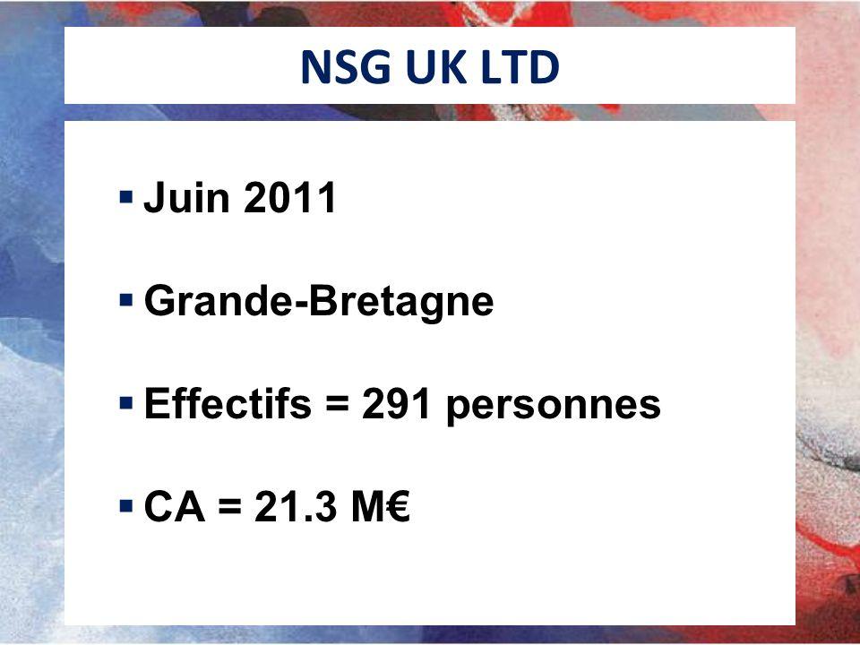 NSG UK LTD Juin 2011 Grande-Bretagne Effectifs = 291 personnes