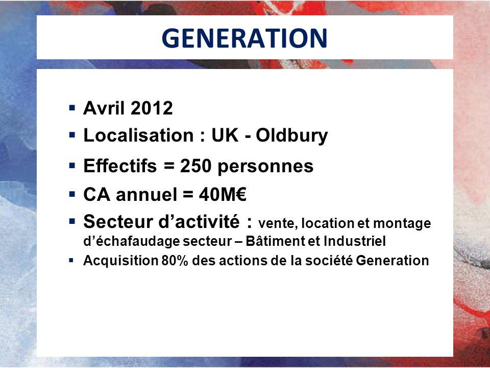 GENERATION Avril 2012 Localisation : UK - Oldbury