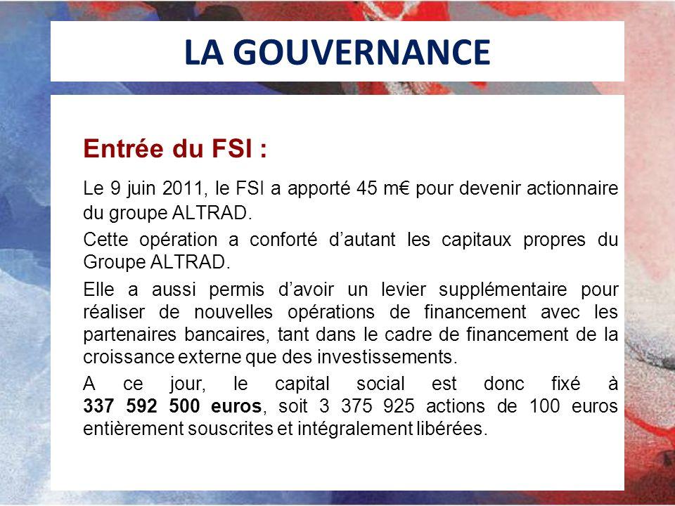 LA GOUVERNANCE Entrée du FSI : Le 9 juin 2011, le FSI a apporté 45 m€ pour devenir actionnaire du groupe ALTRAD.