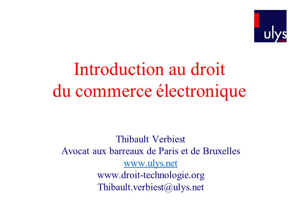 Introduction au droit du commerce électronique