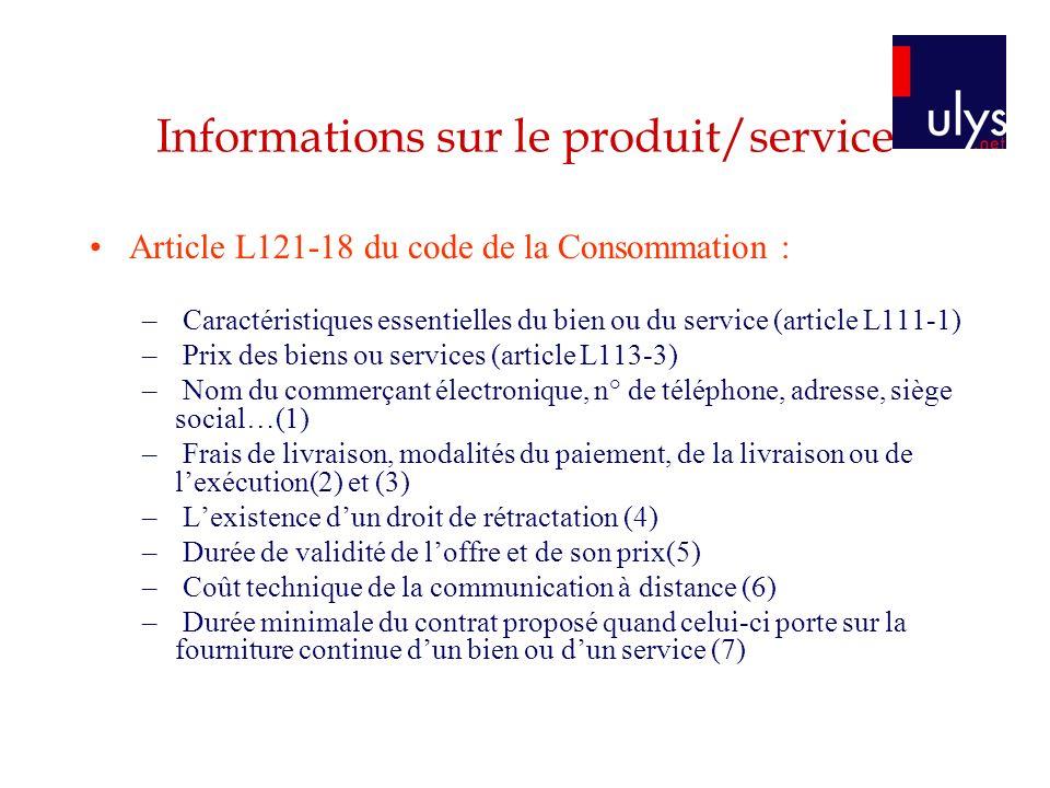 Informations sur le produit/service
