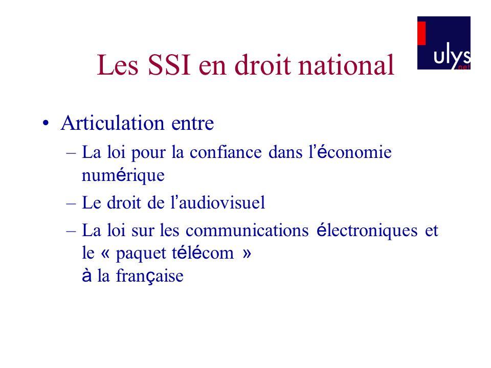 Les SSI en droit national
