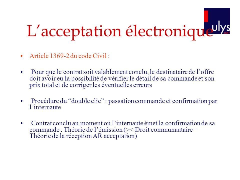 L'acceptation électronique