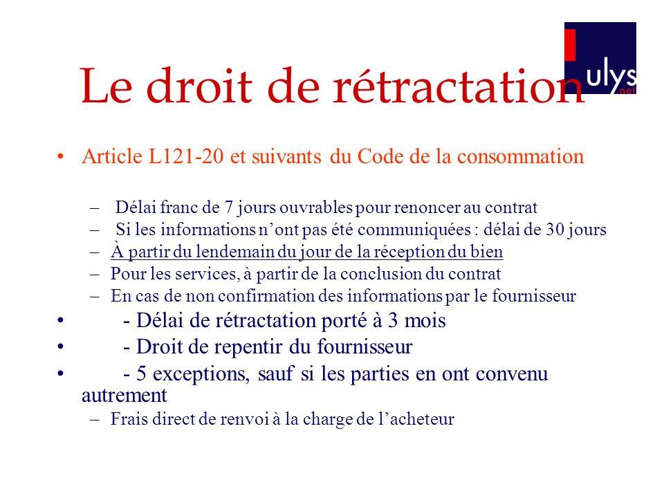 Le droit de rétractation