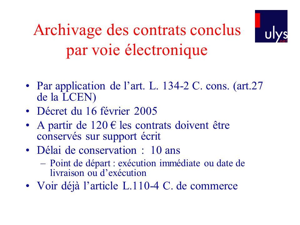Archivage des contrats conclus par voie électronique