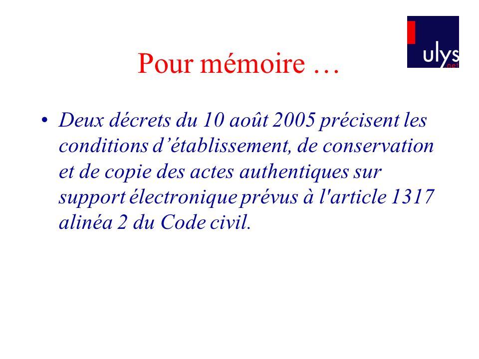 Pour mémoire …