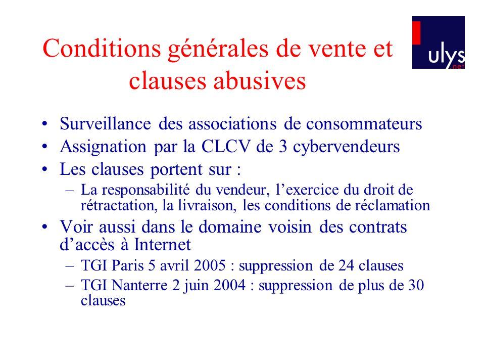 Conditions générales de vente et clauses abusives