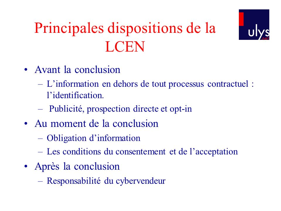 Principales dispositions de la LCEN