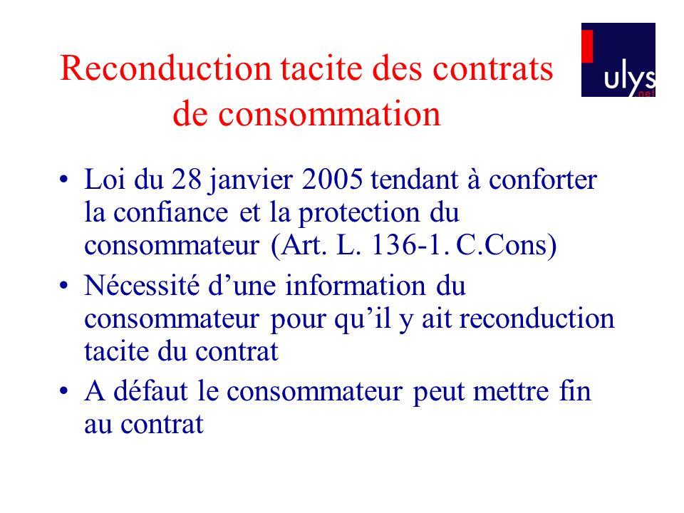 Reconduction tacite des contrats de consommation