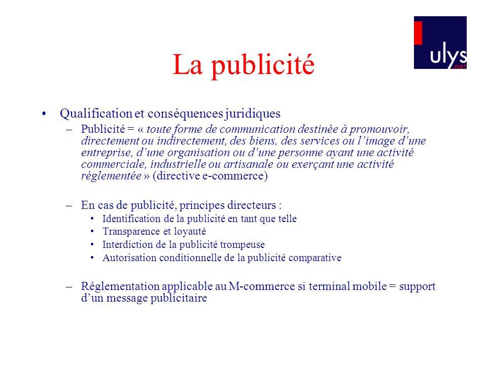 La publicité Qualification et conséquences juridiques