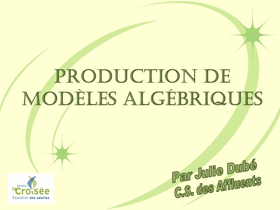 Production de modèles algébriques
