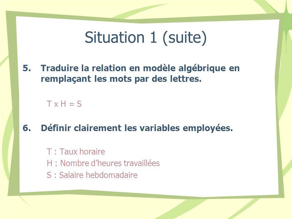 Situation 1 (suite) Traduire la relation en modèle algébrique en remplaçant les mots par des lettres.