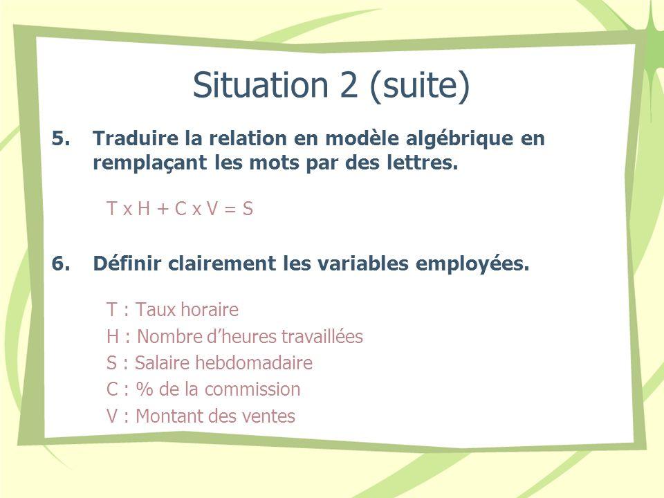 Situation 2 (suite) Traduire la relation en modèle algébrique en remplaçant les mots par des lettres.
