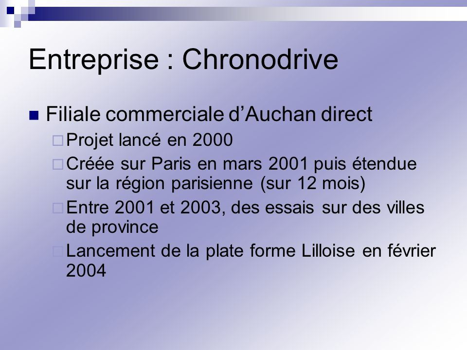 Entreprise : Chronodrive