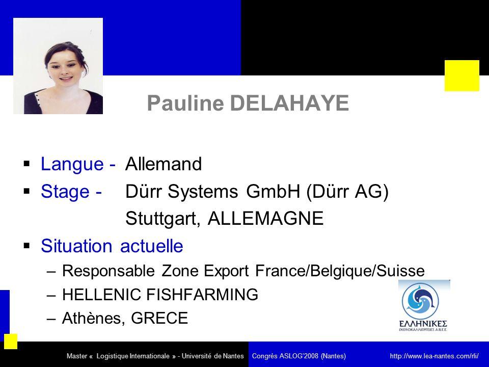 Pauline DELAHAYE Langue - Allemand Stage - Dürr Systems GmbH (Dürr AG)