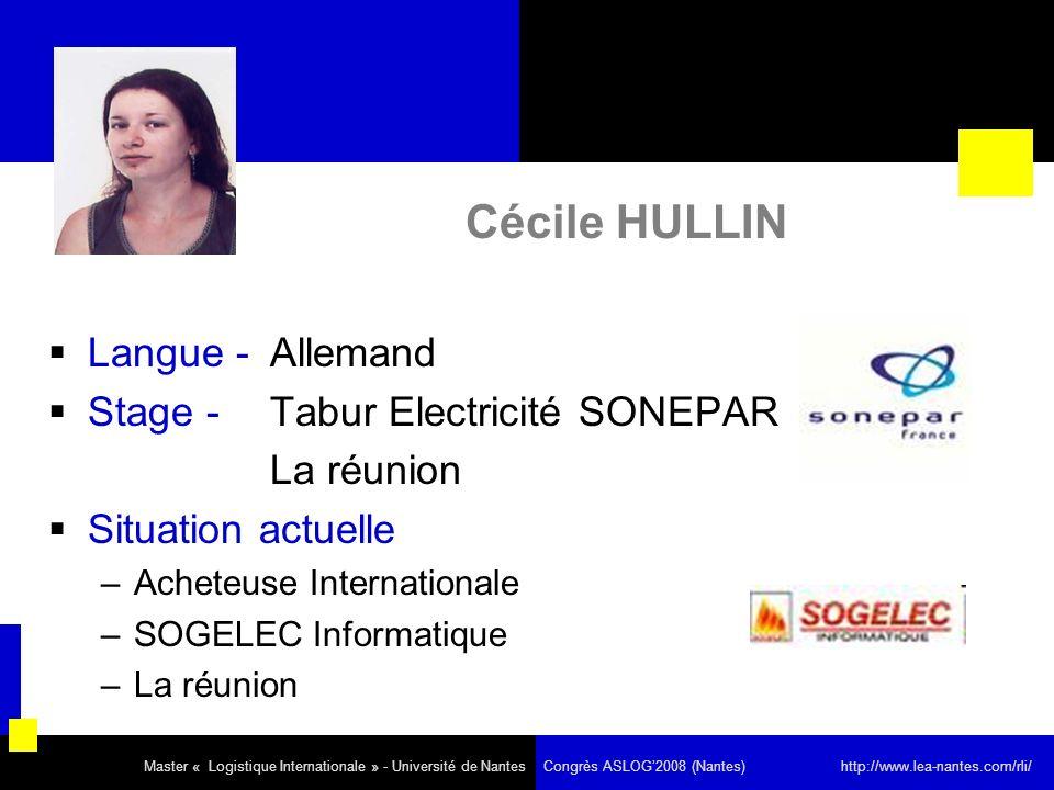 Cécile HULLIN Langue - Allemand Stage - Tabur Electricité SONEPAR