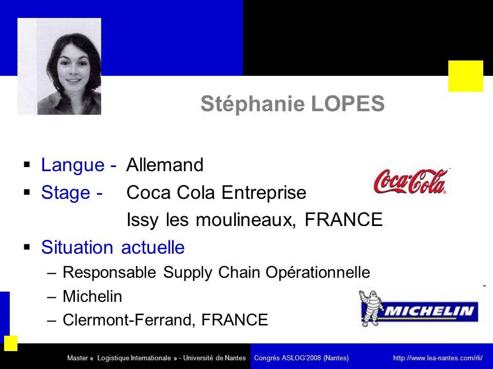 Stéphanie LOPES Langue - Allemand Stage - Coca Cola Entreprise