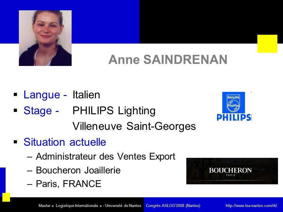Anne SAINDRENAN Langue - Italien Stage - PHILIPS Lighting