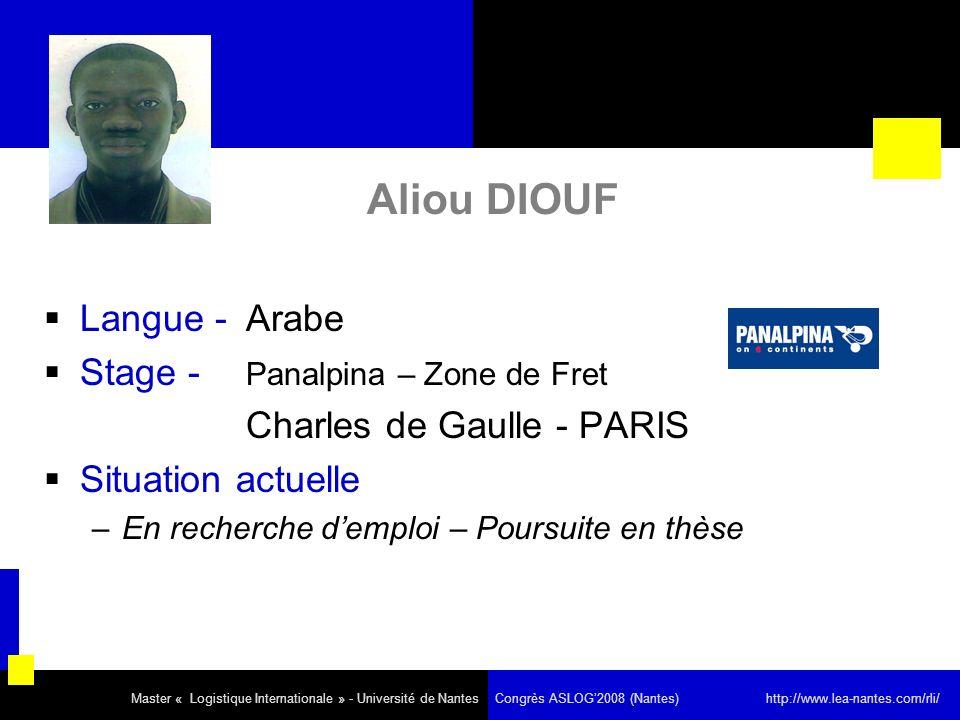 Aliou DIOUF Langue - Arabe Stage - Panalpina – Zone de Fret