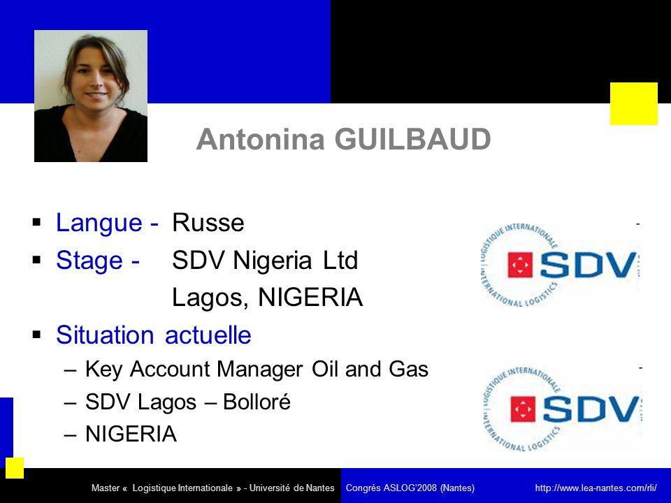 Antonina GUILBAUD Langue - Russe Stage - SDV Nigeria Ltd
