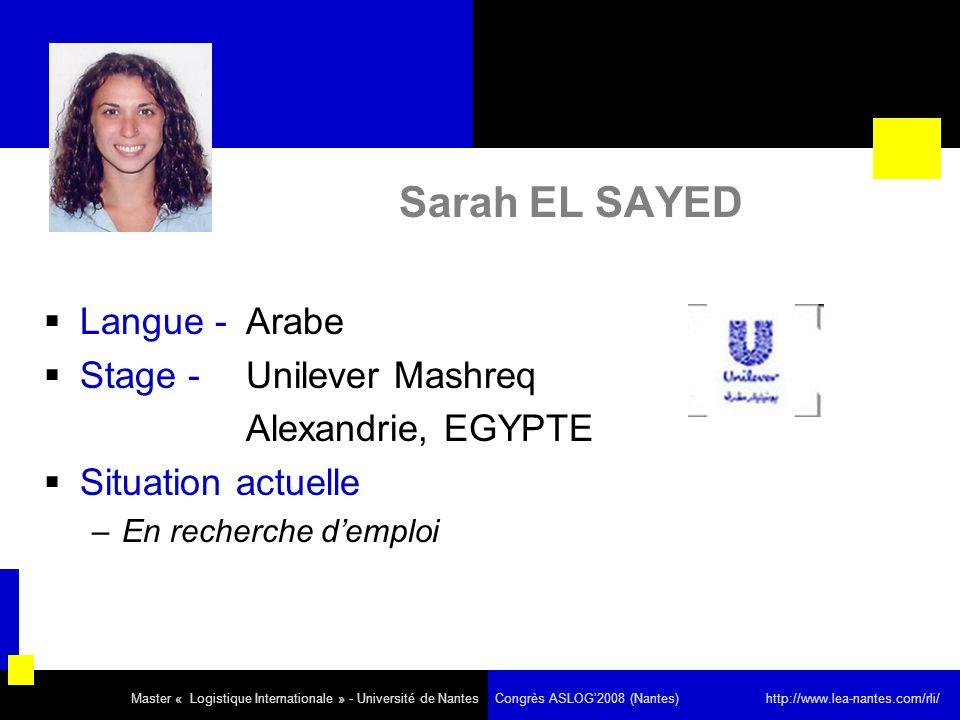 Sarah EL SAYED Langue - Arabe Stage - Unilever Mashreq