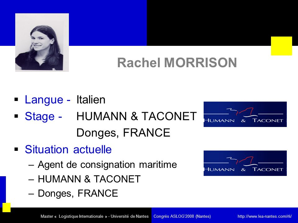 Rachel MORRISON Langue - Italien Stage - HUMANN & TACONET