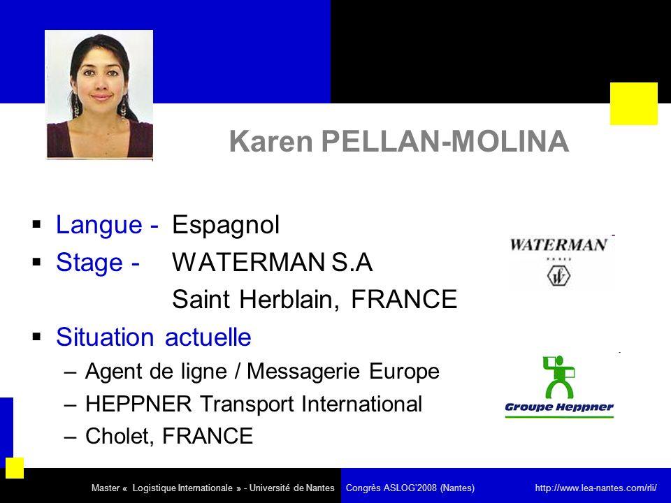 Karen PELLAN-MOLINA Langue - Espagnol Stage - WATERMAN S.A
