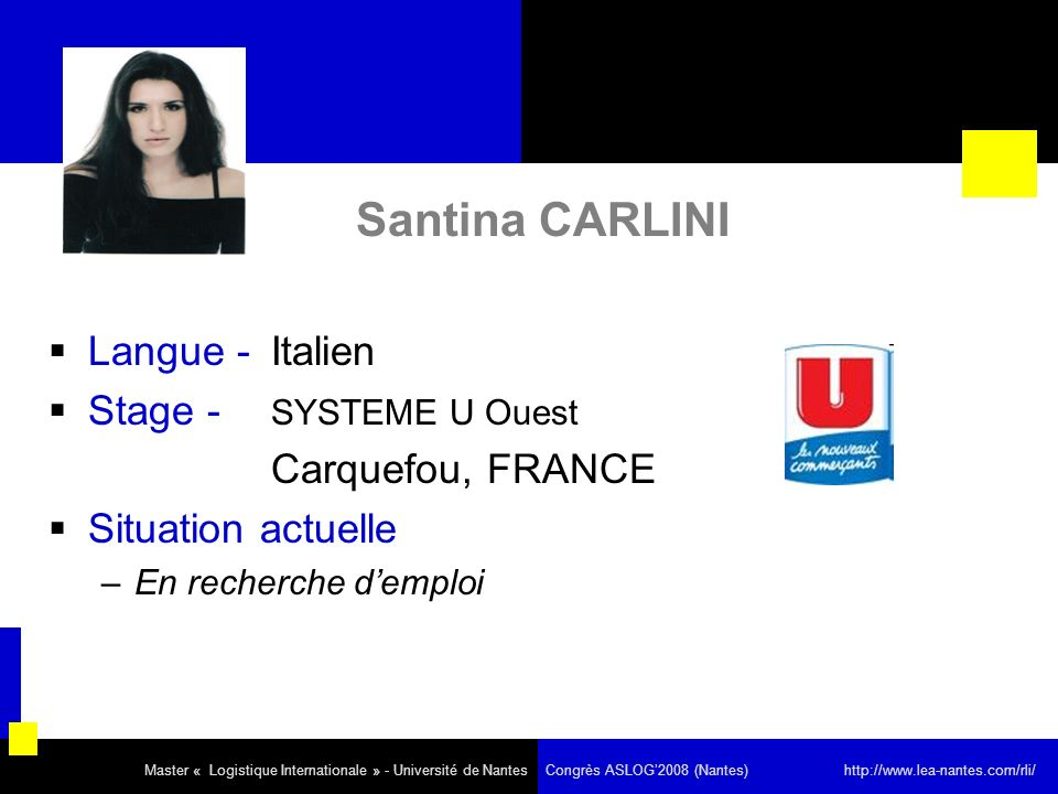 Santina CARLINI Langue - Italien Stage - SYSTEME U Ouest