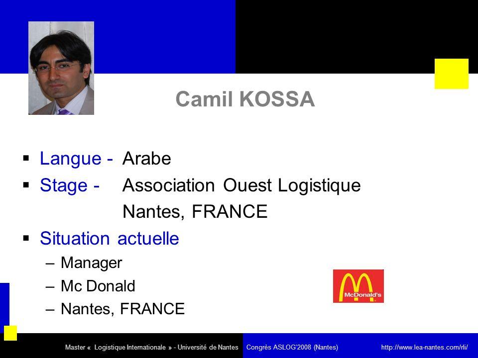 Camil KOSSA Langue - Arabe Stage - Association Ouest Logistique