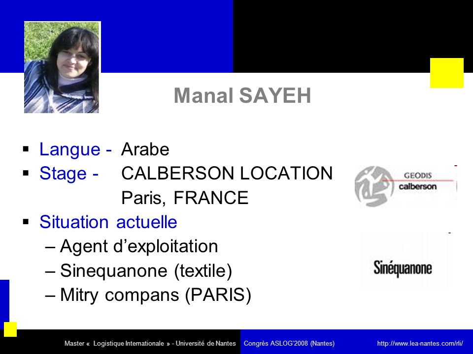 Manal SAYEH Langue - Arabe Stage - CALBERSON LOCATION Paris, FRANCE