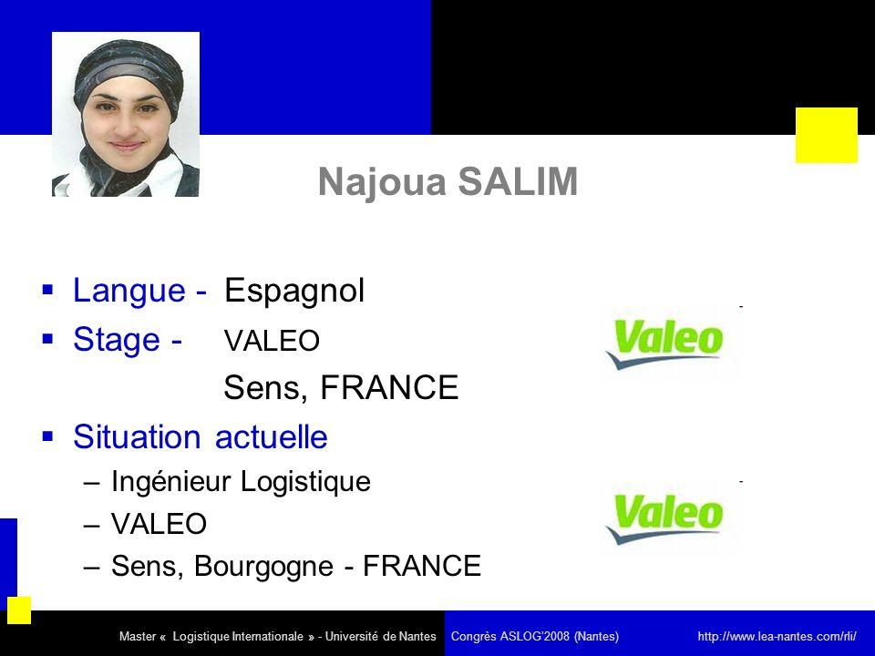Najoua SALIM Langue - Espagnol Stage - VALEO Situation actuelle