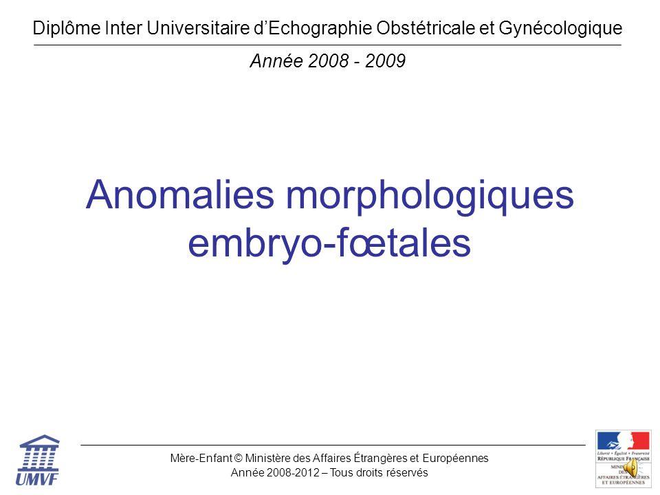 Anomalies morphologiques embryo-fœtales